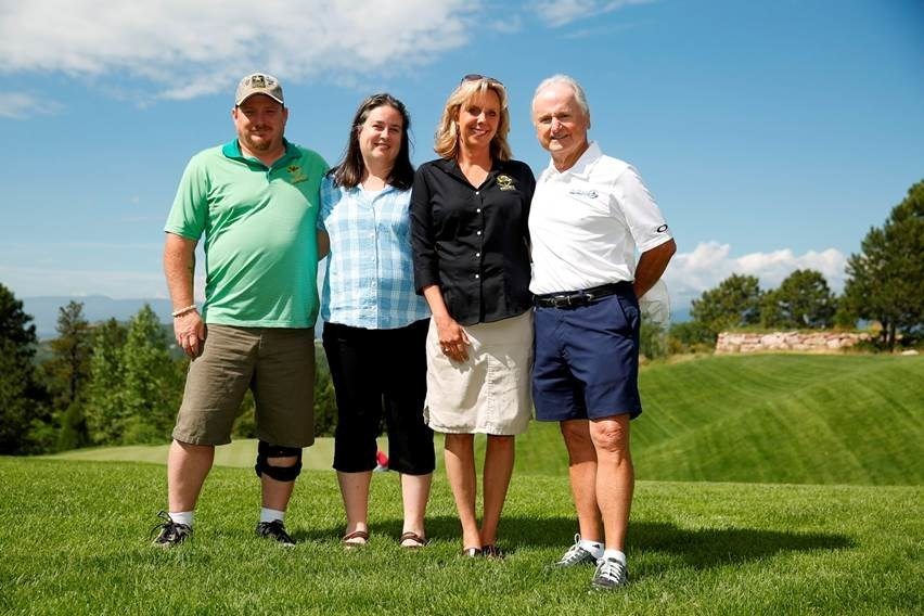 Project Sanctuary Founder and Chief Executive Officer Heather Ehle (third from left) pictured with Retreat Administrator and Army Veteran Ronnie Huddleston and his wife and Aimco Chief Administrative Officer Miles Cortez at the Aimco Care Charity Golf Classic.