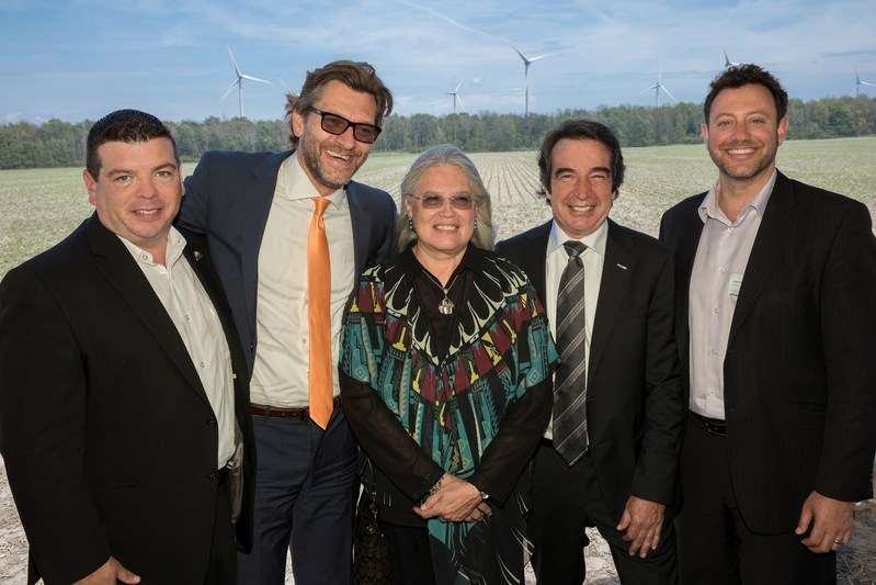 From left to right: Matt Jamieson, President and Chief Executive Officer of the Six Nations of the Grand River Development Corporation, Michael Weismann, Executive Vice President of ENERCON Canada, Ava Hill, Chief of the Six Nations Council, Patrick Lemaire, President and Chief Executive Officer of Boralex, and Adam Rosso, Director of Development of Ontario at Boralex. (CNW Group/Boralex Inc.)