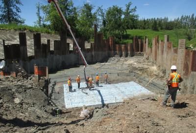 Emplacement de la dalle qui accueillera un des murs de tête. (Groupe CNW/Ministère des Transports, de la Mobilité durable et de l'Électrification des transports)