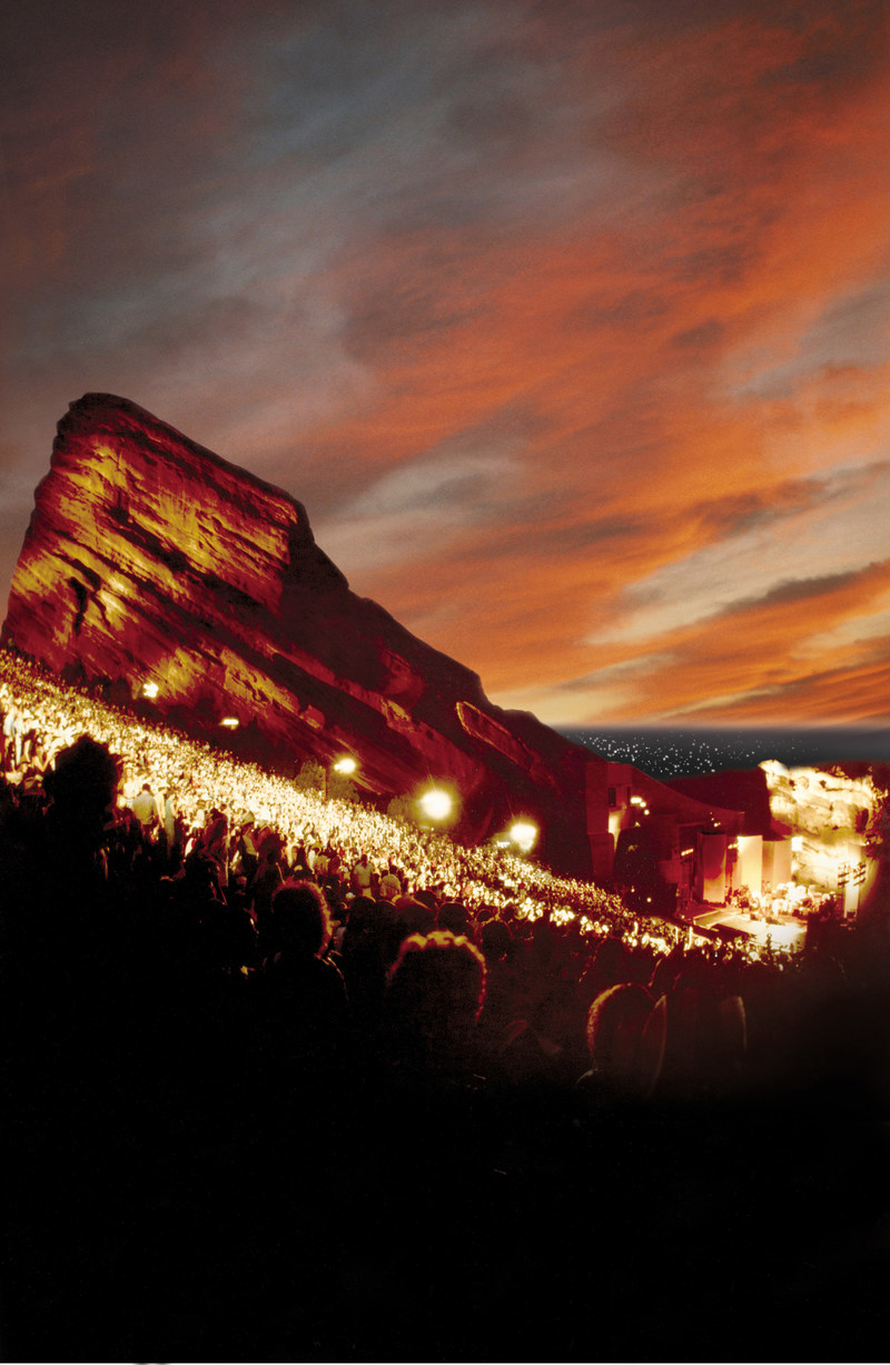 Red Rocks Amphitheater at night