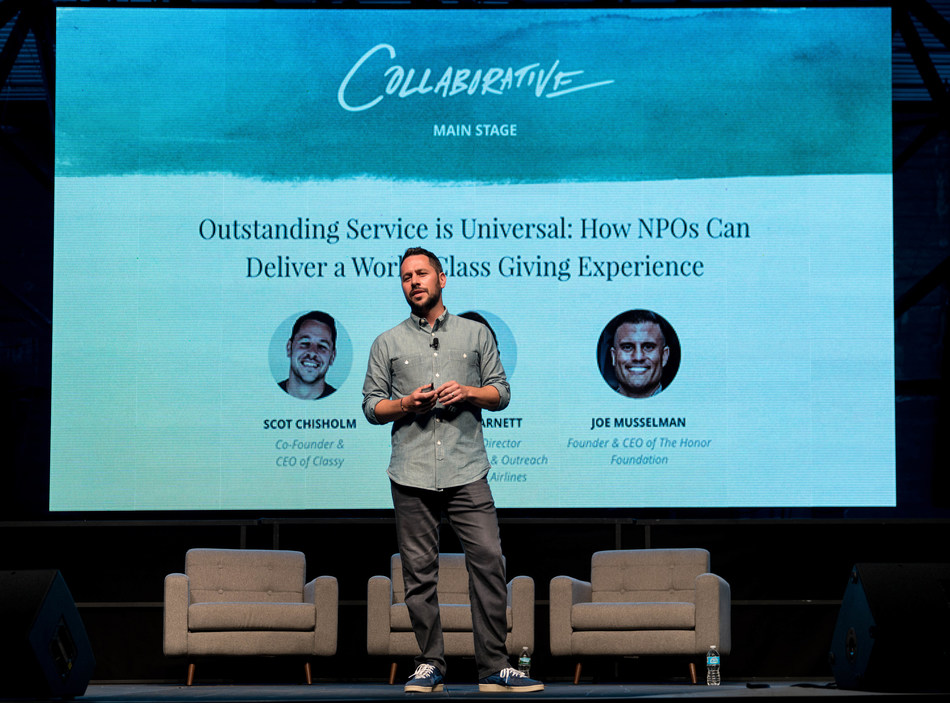 Scot Chisholm, Classy's CEO & Co-Founder, addresses the crowd during the 2017 Collaborative in Boston, Massachusetts.