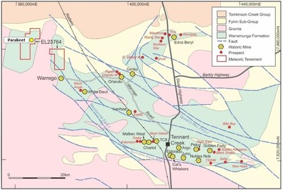 Figure 1. Location map of Warrego North Project (Parakeet Prospect), NT (CNW Group/Chalice Gold Mines Limited)