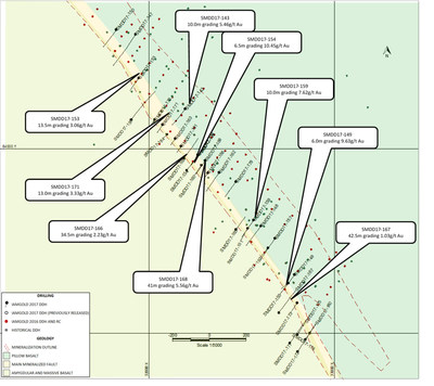 Figure 1: Saramacca drill hole plan map and highlighted recent 2017 assay results. (CNW Group/IAMGOLD Corporation)