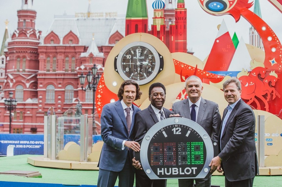 Alexey Smertin, Pele, Ricardo Guadalupe, CEO of Hublot and Philippe Le Floc'h, CCO of FIFA (PRNewsfoto/Hublot)