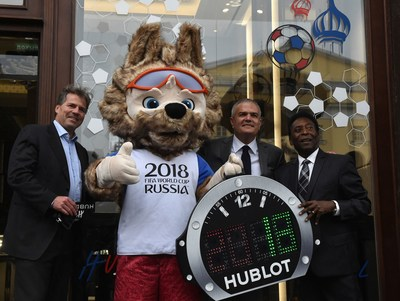 Philippe Le Floc'h, CCO of FIFA, Ricardo Guadalupe, CEO of Hublot and Pele at the Hublot Metropol Boutique opening in Moscow (PRNewsfoto/Hublot)