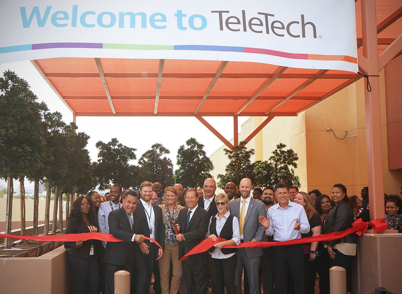 More than 100 community leaders and TeleTech associates took part in the TeleTech Las Vegas Grand Opening event, which included Clark County Commissioner Chris Giunchigliani, Las Vegas Global Economic Alliance President Jonas R. Peterson  and TeleTech Chief Operating Officer Martin DeGhetto, pictured here cutting the ribbon to kick off the center opening.