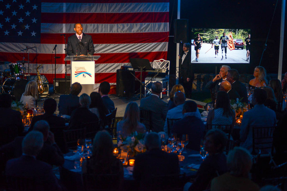 Featured guest speaker U.S. Army Master Sgt. Cedric King at the Carrington Charitable Foundation Gala in Greenwich, Conn.