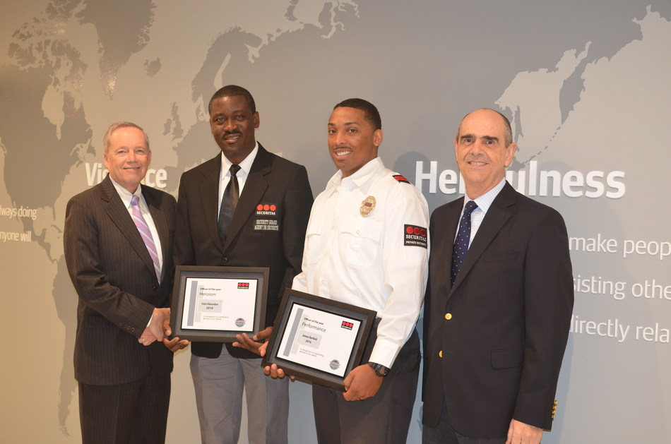 At Securitas' North American headquarters in Parsippany, NJ, Chief Operating Officer, Securitas USA Bill Barthelemy (far left) and President and CEO, Securitas North America Santiago Galaz (far right) offered their personal congratulations for the example set by Officer Felix Olatundun (center left) and Officer Jamon Barfield (center right) who were recognized as Securitas' Security Officers of the Year for Heroism and Performance, respectively.