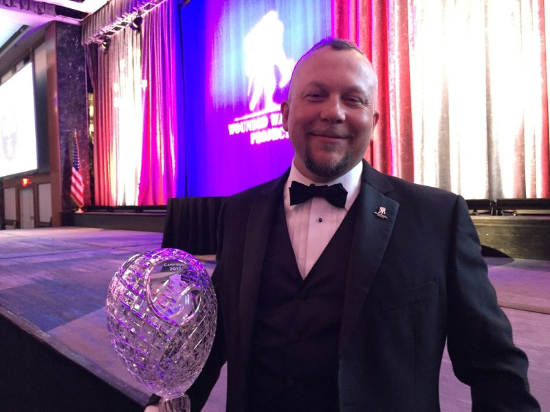 At the 2017 Courage Awards and Benefit Dinner, Wounded Warrior Project® (WWP) recognized warriors and partners who have dedicated time and effort to change the lives of the warriors served by WWP. Army veteran Brett Miller, who was seriously wounded in 2004, received the highest honor for the evening.