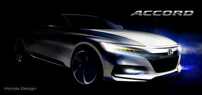 Honda today released this concept sketch highlighting the aggressive stance and proportion of the all-new 2018 Honda Accord that will make its global debut in Detroit and via YouTube Livestream (honda.us/2018AccordReveal) on July 14, at 11:00 a.m. EDT.