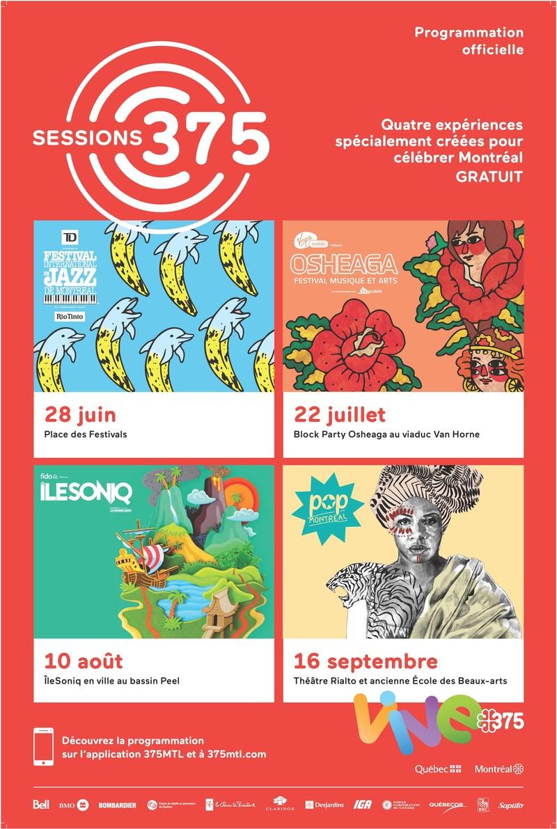 Affiche Sessions 375 @Société du 375e anniversaire de Montréal (Groupe CNW/Société des célébrations du 375e anniversaire de Montréal)