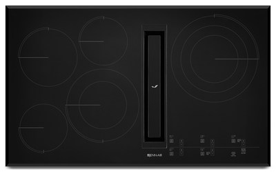 Ideal for keeping sightlines clear in today's open kitchen plans, Jenn-Air brand's newest downdraft cooktops combine elegant design with a powerful yet quiet ventilation system that eliminates the need for an overhead hood. Both elegant and highly efficient, this electric model features a perimetric ventilation design to help concentrate air suction function for quick and quiet capture of cooking odors.