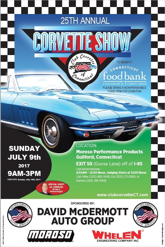 Club Corvette of Connecticut will hold its 25th Annual Corvette Show on Sunday, July 9 at Moroso Performance Products in Guilford, Conn. It is one of the largest Corvette-only judged shows in the Northeast.