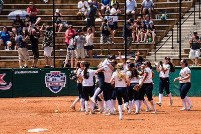 Corban Softball celebrates victory against LSU Alexandria (4-2) at the National Championships in Clermont, Fla., before moving on to play the Championship game against Oklahoma City.
