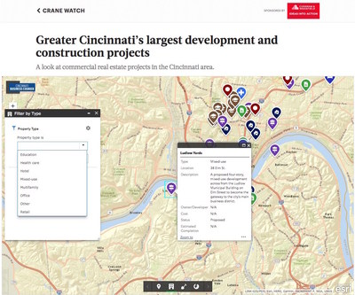 The Business Journals' Crane Watch, powered by Esri offers data and mapping of the market's commercial real estate developments.