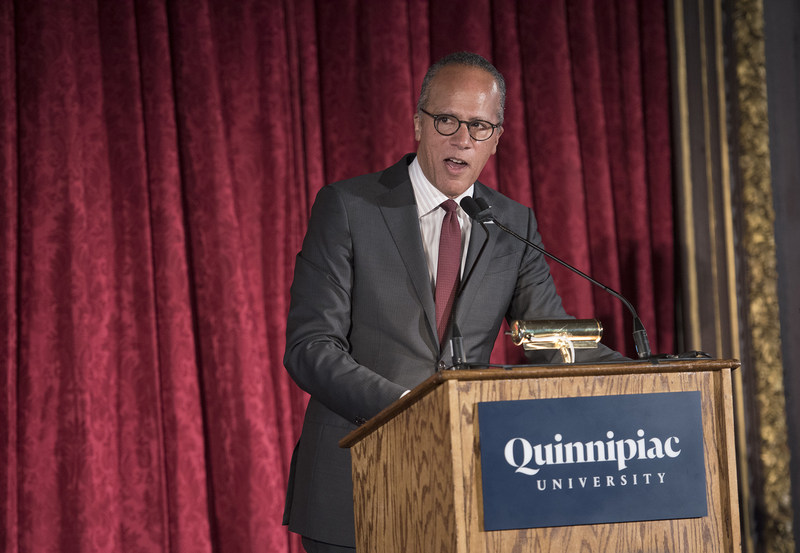 "Quinnipiac University presented its Fred Friendly First Amendment Award to Lester Holt, anchor of ""NBC Nightly News with Lester Holt"" and ""Dateline NBC,"" at a luncheon Monday at the Metropolitan Club in New York City."