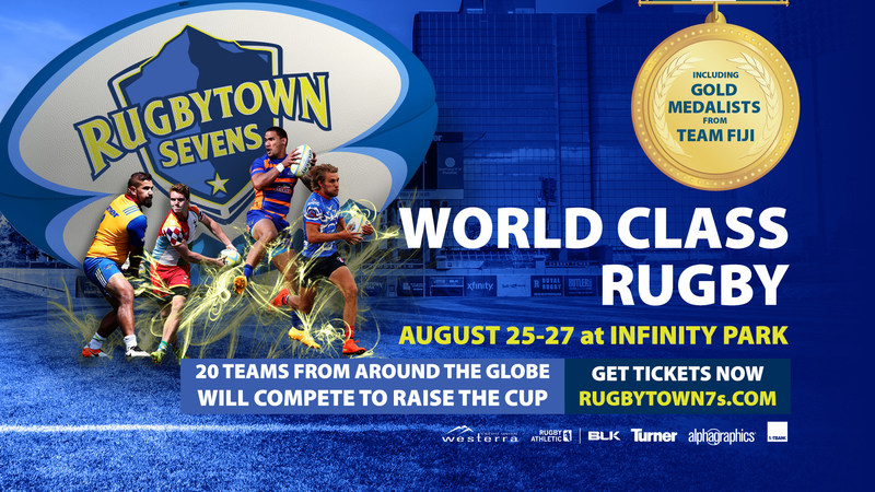 20 world-class rugby 7s teams, including members of Olympic gold medal winning Fiji team and teams from each branch of the United States military, will compete at RugbyTown USA for a chance to win the RugbyTown 7s Championship August 25-27 at Infinity Park in Glendale, Colorado.
