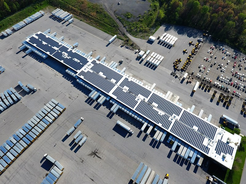 Solar arrays on the roof of Estes' West Middlesex terminal.