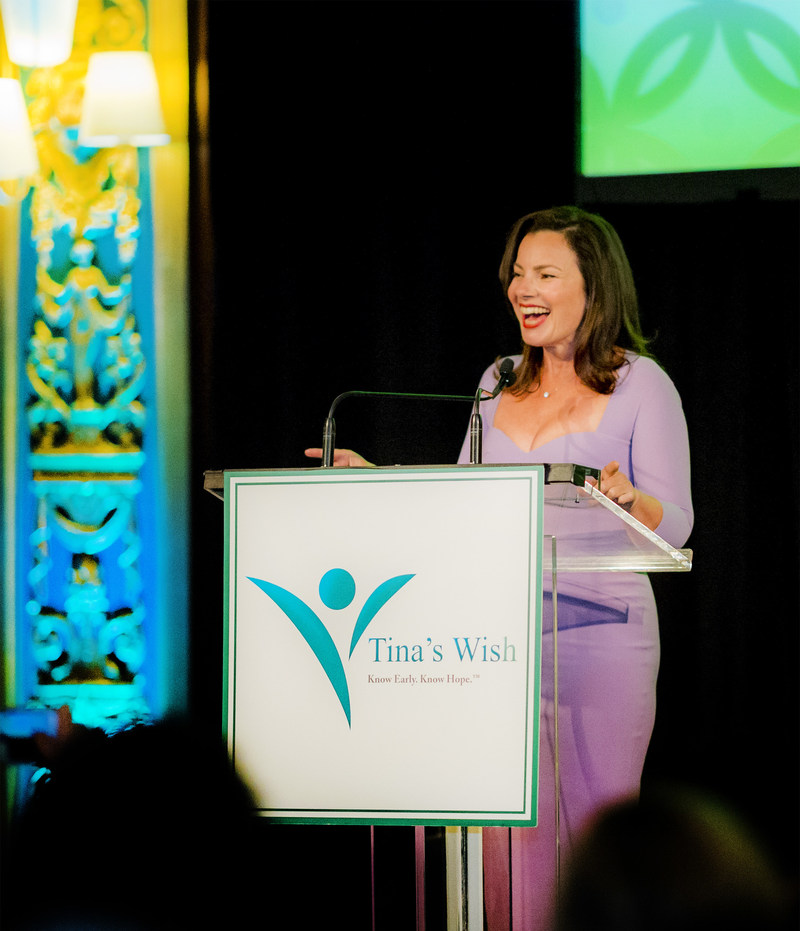 Actress & cancer survivor, Fran Drescher, giving her keynote address at the Tina's Wish Leadership Council Spring Reception, which raised over $125,000 for early detection ovarian cancer research at The Prince George Ballroom.  Photo credit: John Deputy