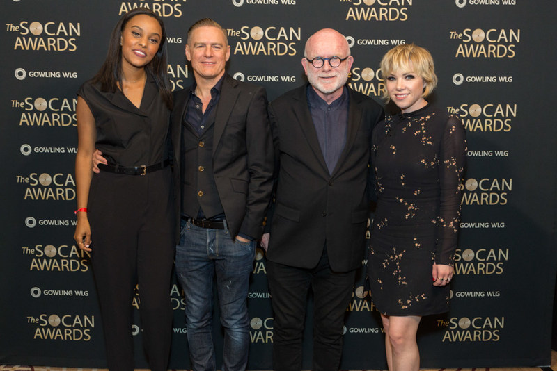 Classic and future stars shining backstage at the SOCAN Awards. Left to Right: Ruth B, Bryan Adams, Jim Vallance and Carly Rae Jepsen. (CNW Group/SOCAN)