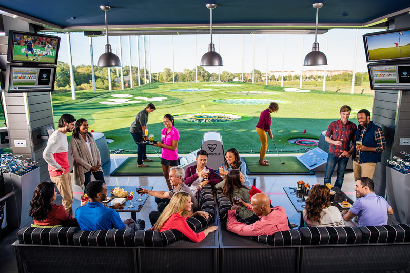 View of the hitting bays and outfield at Topgolf