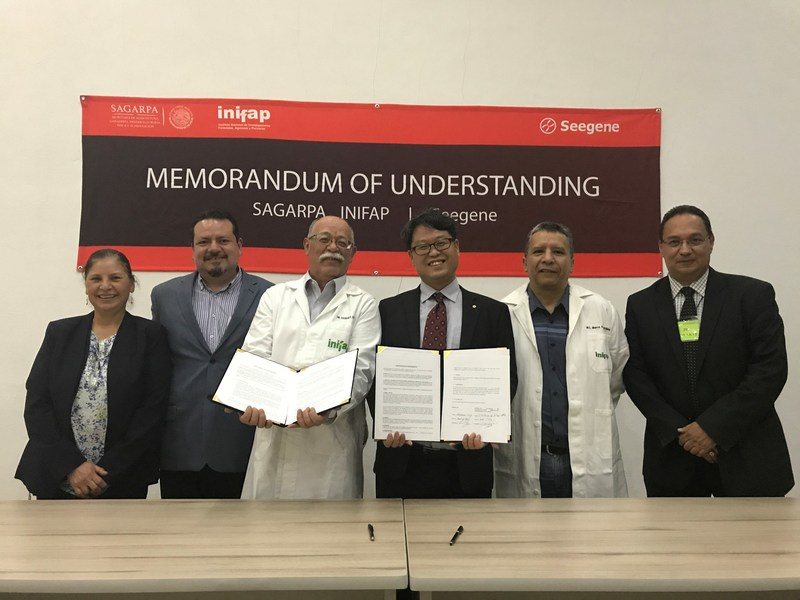 MOU signed between Mexico SAGARPA's INIFAP and Seegene for collaborative product development and clinical study: (from middle to left) INIFAP's bovine TB Director Dr. Ferando Otero, Head of Seegene Institute of Life Sciences Dr. Nackmoon Sung, INIFAP's TB chief researcher Dr. Marco Flores.