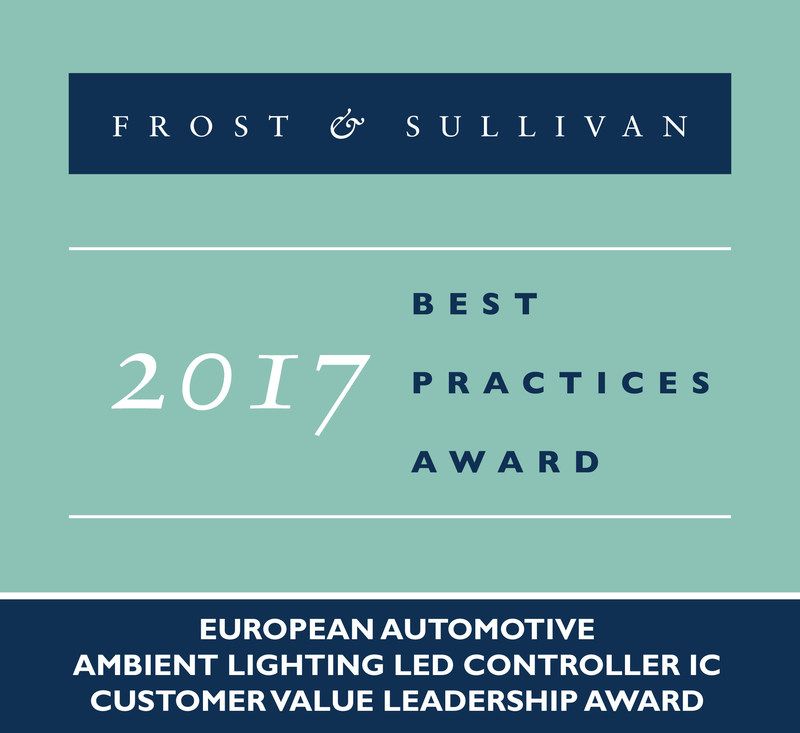Inova Semiconductors Receives 2017 European Automotive Ambient Lighting LED Controller IC Customer Value Leadership Award