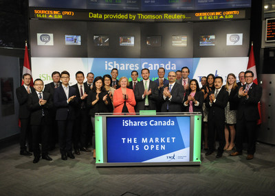 Pat Chiefalo, Head of iShares Product, BlackRock Asset Management Canada Limited, joined Dani Lipkin, Head, Business Development, Exchange Traded Funds, Closed-End Funds, and Structured Notes, TMX Group, to open the market to launch five new Exchange Traded Funds (ETFs): iShares Core MSCI Canadian Quality Dividend Index ETF (XDIV); iShares Core MSCI US Quality Dividend Index ETF (XDU); iShares Core MSCI Global Quality Dividend Index ETF (XDG); iShares Core MSCI US Quality Dividend Index ETF (CAD-Hedged) (XDUH); and iShares Core MSCI Global Quality Dividend Index ETF (CAD-Hedged) (XDGH). iShares Funds are managed by BlackRock Asset Management Canada Limited. BlackRock provides investment management, risk management and advisory services for institutional and retail clients worldwide. XDIV; XDU; XDG; commenced trading on Toronto Stock Exchange on June 13, 2017. XDUH; and XDGH; commenced trading on Toronto Stock Exchange on June 16, 2017. (CNW Group/TMX Group Limited)