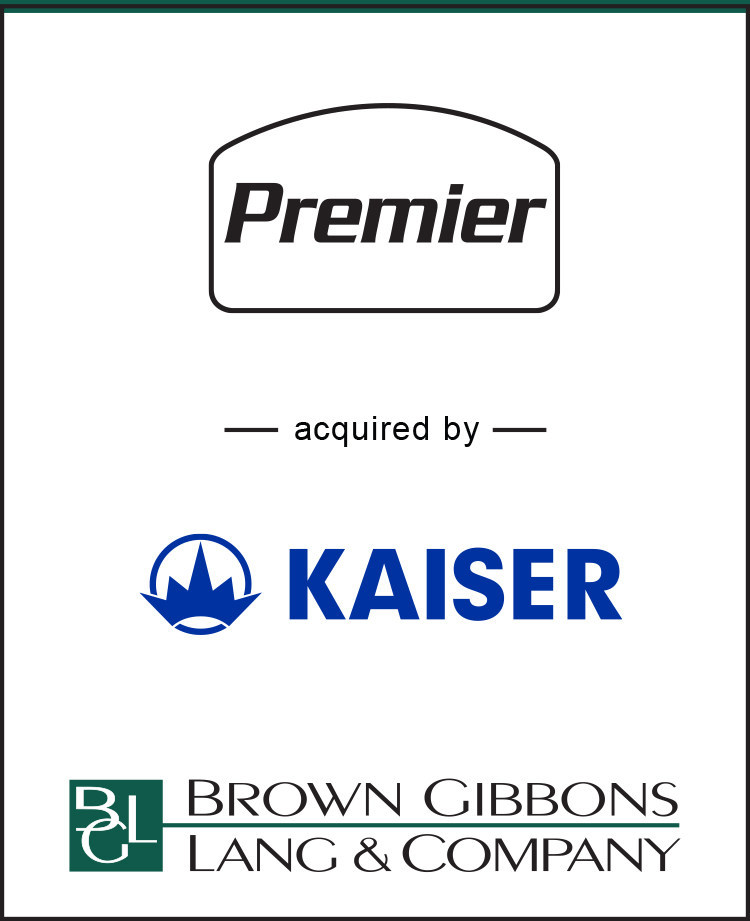 Brown Gibbons Lang & Company (BGL) is pleased to announce the sale of Premier Oilfield Equipment (Premier) to KAISER AG.  BGL served as the exclusive financial advisor to Premier.  The specific terms of the transaction were not disclosed.