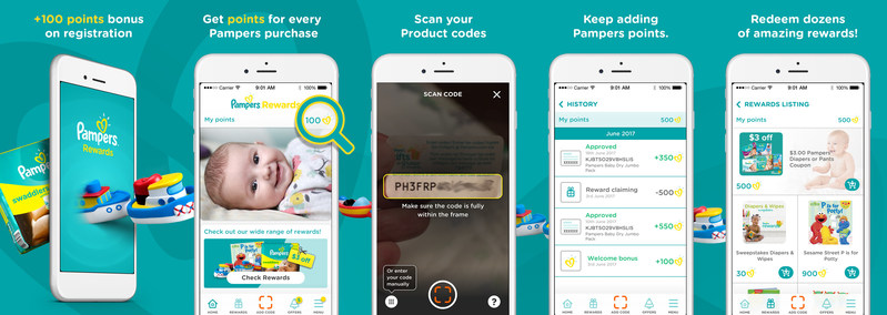 The hottest #momhack (and #dadhack) of the summer: Pampers Rewards mobile app. Pictured above, the app allows members to redeem points for amazing gifts and coupons for Pampers diapers. Download, scan and collect – It's that simple! Available for Android or iPhone from Google Play or the App Store. (CNW Group/Pampers)