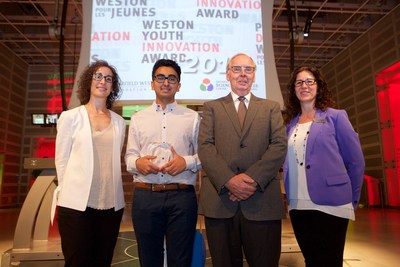 Markham, ON teen Anmol Tukrel (second from left) recipient of Ontario Science Centre's 2017 Weston Youth Innovation Award. Also pictured (from left to right): R. Shayna Rosenbaum from the Centre's Board of Trustees and a jury member for the award; Stew Green, Director, W. Garfield Weston Foundation; Catherine Paisley, Vice President Science Education and Science Experience, Ontario Science Centre. (CNW Group/Ontario Science Centre)