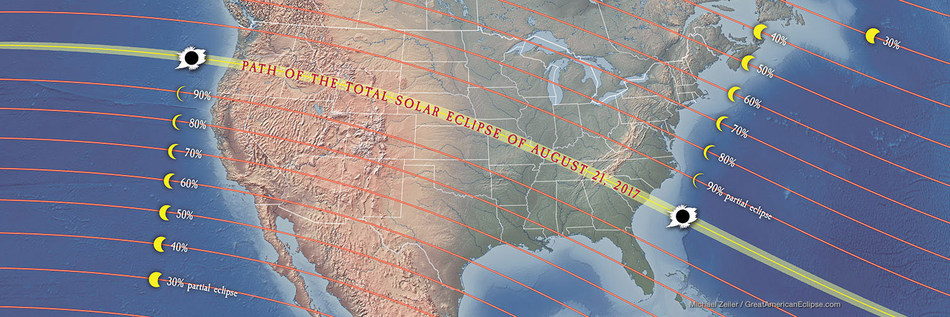 On Monday, August 21, 2017, a spectacular total eclipse of the Sun will be visible, weather permitting, within a roughly 70-mile-wide swath (shown in yellow) of the continental U.S. from Oregon to South Carolina. Outside of this path, the rest of the country will have a deep partial solar eclipse, as noted by the lines showing the percentage of the Sun's bright face that will be covered by the Moon at maximum eclipse. Credit: Michael Zeiler / GreatAmericanEclipse.com