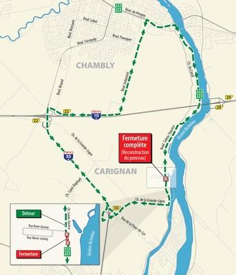 Chemin de détour - Reconstruction d'un ponceau de la route 223 à Carignan (Groupe CNW/Ministère des Transports, de la Mobilité durable et de l'Électrification des transports)