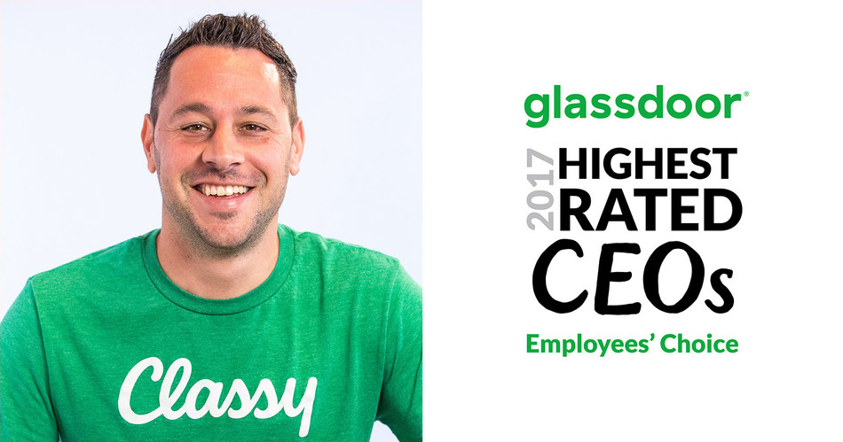 Scot Chisholm, Classy CEO and Co-Founder, wins a Glassdoor Employees' Choice Award recognizing the Highest Rated CEOs for 2017.