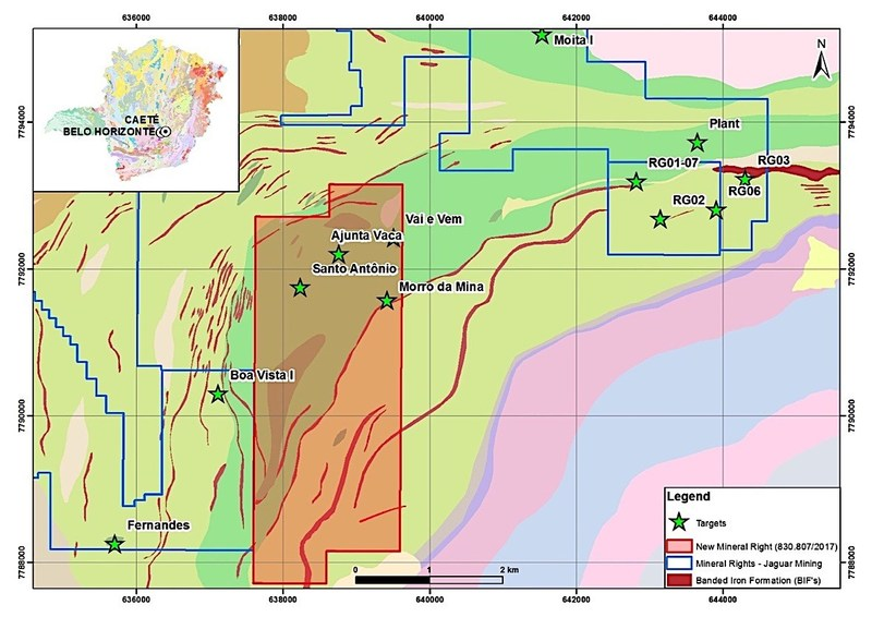 Figure #3 - Geological and structural mapping with soil sampling will be conducted during the second half of the year, Jaguar plans to carry out an exploration campaign on one of the historic targets, Morro da Mina, to confirm previously identified gold occurrences in and around the target.  Source: The Iron Quadrangle Geology Project, CODEMIG - Brazilian Development Company, 2005 (CNW Group/Jaguar Mining Inc.)