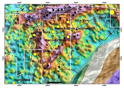 Figure #2 - Strong magnetic anomalies associated with more than 7.5 km of mapped, highly prospective, contiguous BIF extensions, including the possibility of a potential gold-bearing BIF hinge zone in the west-south-west portion of the License area.  Source: Geophysical Modeling and Integration data of HTEM Conductors in Greenstone Belt Rio das Velhas, Quadrilátero Ferrífero, MG – Marco A. Couto Jr., Raianny C. R. Ferreira, Orivaldo F. Baltazar, Marcelo S. Marinho, Joanna C. S. Araújo - CPRM - Brazilian Geological Survey, presented in SimexMin 2016 (CNW Group/Jaguar Mining Inc.)