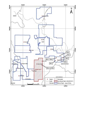 Figure #1 - The newly acquired Mineral Exploration License increases the total registered RG Mine concession area by 1,000 ha. (CNW Group/Jaguar Mining Inc.)