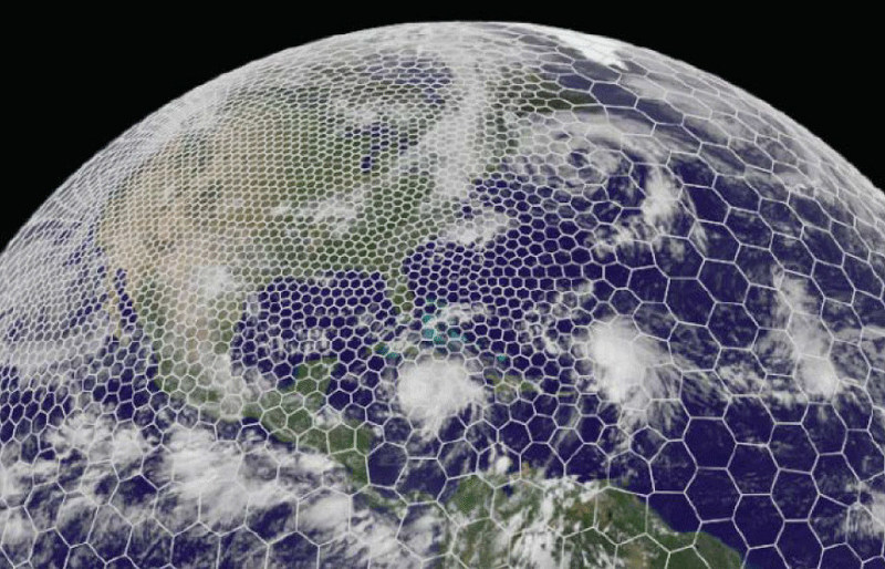 The Model for Prediction Across Scales enables forecasters to combine a global view of the atmosphere with a higher-resolution view of a particular region, such as North America. (@UCAR. This image is freely available for media & nonprofit use.)