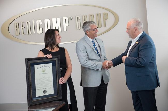 Indiana House Majority Leader, Matt Lehman, congratulates BeniComp President, Doug Short, for 55 years of business stability.