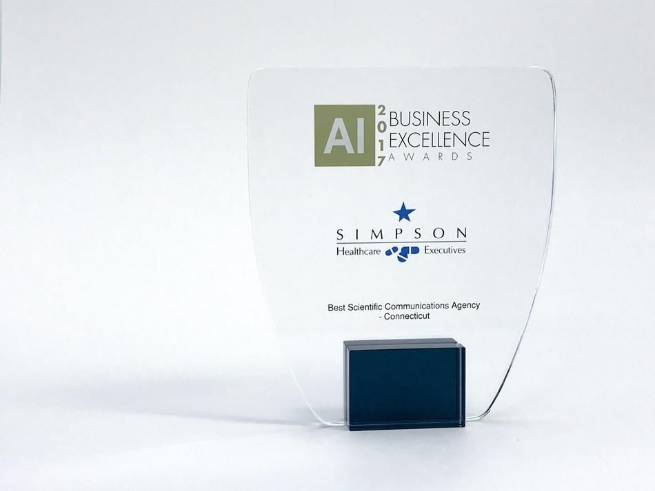 "Simpson Healthcare Executives wins ""Best Scientific Communications Agency-Connecticut"" at the 2017 Business Excellence Awards hosted by Acquisition International Magazine."