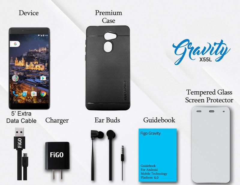 Figo Gravity - Free Accessories worth $35 - Premium Case, Tempered Glass, 5 Feet Data Cable, Premium Headphones