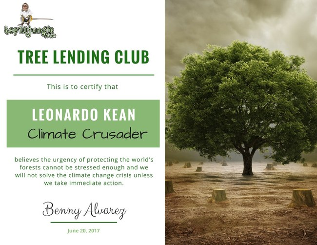 Tree Lending Club and Top 10 Jungle present a Climate Crusader Certificate to each member that uses its free debt consolidation comparison tool.