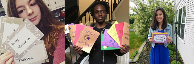 """DoSomething.org members pose with their handmade Happy Ramadan cards for """"Sincerely, Us"""" campaign."""