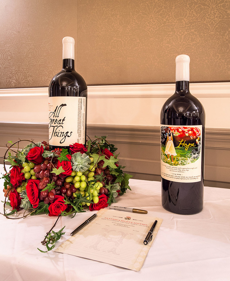 Two of the custom bottles created for Fantesca Estate & Winery's silent auction benefitting BRAF