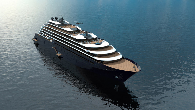 Rendering of the exterior of the one of three ships part of The Ritz-Carlton Yacht Collection