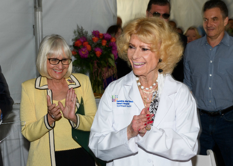 From left: Northwell Health President and CEO Michael J. Dowling, philanthropist Sandra Atlas Bass and Board Chairman Mark L. Claster at the dedication of the Sandra Atlas Bass Heart Hospital on Wednesday, June 21.
