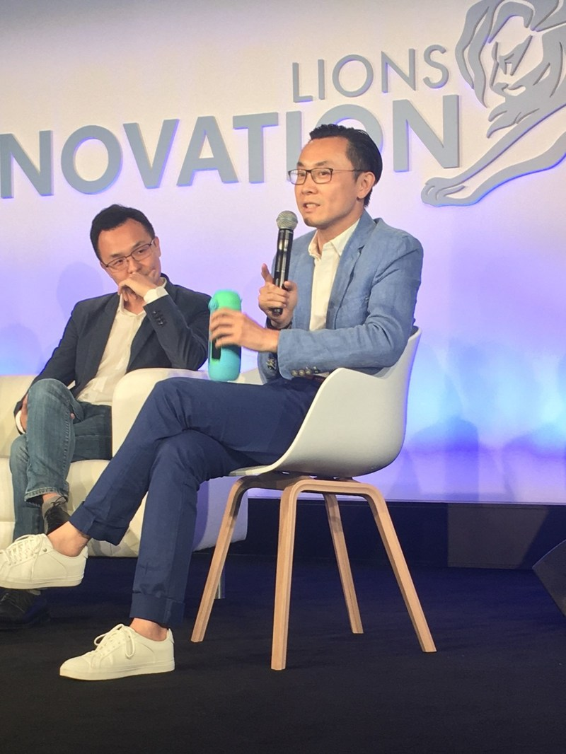 "Mr. Alvin Chiang, Founder and Chief Gululu, is speaking on stage at ""2017 Cannes Lions International Festival of Creativity""."
