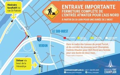 Autoroute 15 / Avenue Atwater (Groupe CNW/Ministère des Transports, de la Mobilité durable et de l'Électrification des transports)