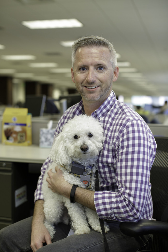 Mars Petcare Associate Tim Wingard and his pup Sparky.