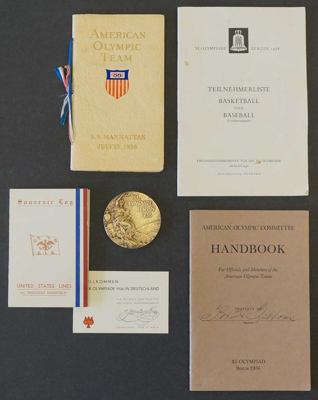"""Partial archive of ephemera accompanying the 1936 Olympic Gold Medal won by John H. """"Tex"""" Gibbons, all documenting his trip to Berlin, Olympic participation, and social activities organized by the Olympic committee"""